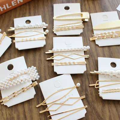Womens Girl Pearl Hairpin Hair Clips Barrette Stick Bobby Pin Hair Accessories