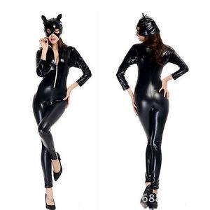 Sexy-De-Mujer-Disfraz-Halloween-CATWOMAN-Leopardo-Salvaje-gato-cosplay-M-L
