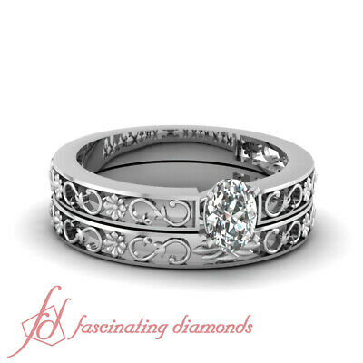 1/2 Carat Oval Shaped Diamond Solitaire Wedding Rings Set D-Color GIA Certified