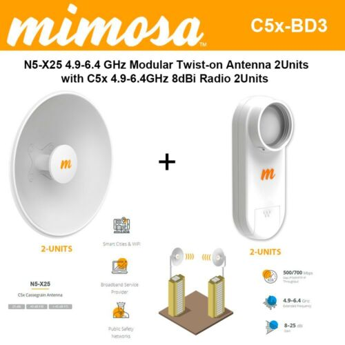 Mimosa Networks N5-X25 4.9-6.4 GHz Modular Twist-on Antenna 400mm Dish for C5x o