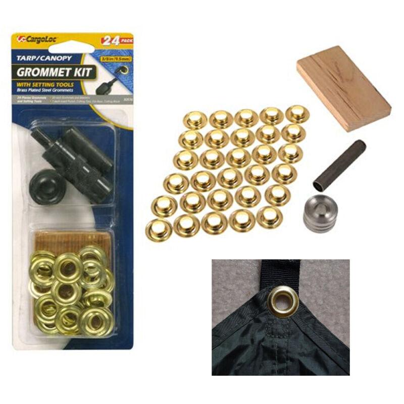 24 Pc Grommet Punch Tarp Repair Kit Washer Setting Block Tent Canopy Brass Ring