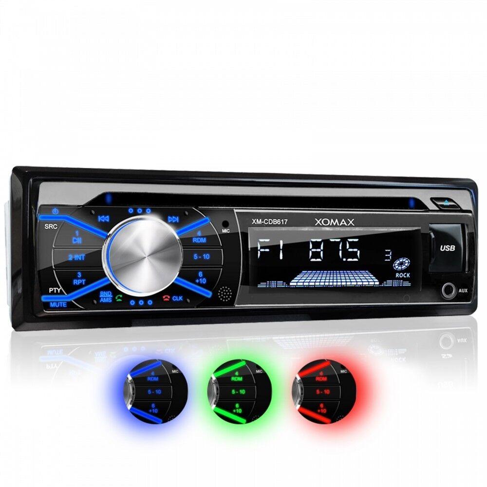 AUTORADIO CON LETTORE CD BLUETOOTH VIVAVOCE 3 COLORI USB SD AUX MP3 SINGOLO 1DIN