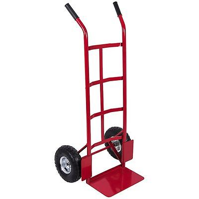 Hand Sack Truck Trolley Industrial Heavy Duty Pneumatic Tyres Cart Red