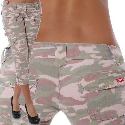rze Hose Stretch Hüftjeans Hüfthose Bermuda 3/4 Camouflage (Armee Frauen)