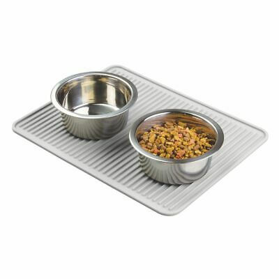 mDesign Silicone Pet Food/Water Bowl Feeding Mat for Dogs - Light Gray