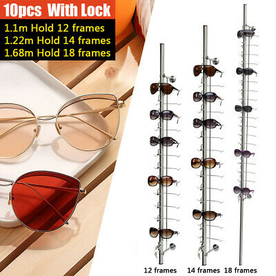 Silver 10pcs Sunglasses Display Rack Eyeglass Glasses Frame Stand Organizer Show
