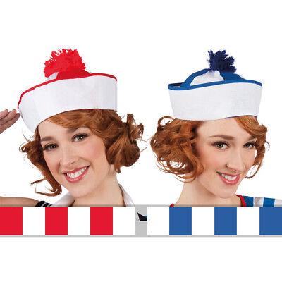 Matrosenhut rot-weiß oder blau-weiß, ideales Kostümaccessoire für den (Matrose Hut)