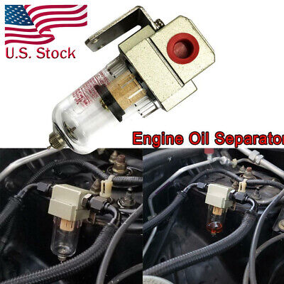 Engine Oil Catch Can Reservoir Tank CAN Black Baffled For Honda Civic Acura