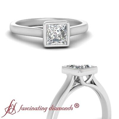 3/4 Carat Princess Cut FLAWLESS Diamond Solitaire Wedding Ring In 18K White Gold