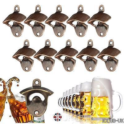 10pcs Bronze Wall Mounted Beer Wine Bottle Open Cap Bar Opener Bar Kitchen Tool