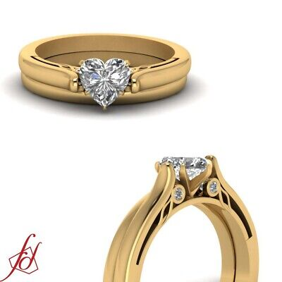 1/2 Ct Yellow Gold Heart Shape Diamond Tapered Engagement Ring Set For Women GIA