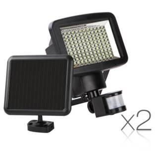 Set of 2 120 LED Solar Sensor Outdoor Light