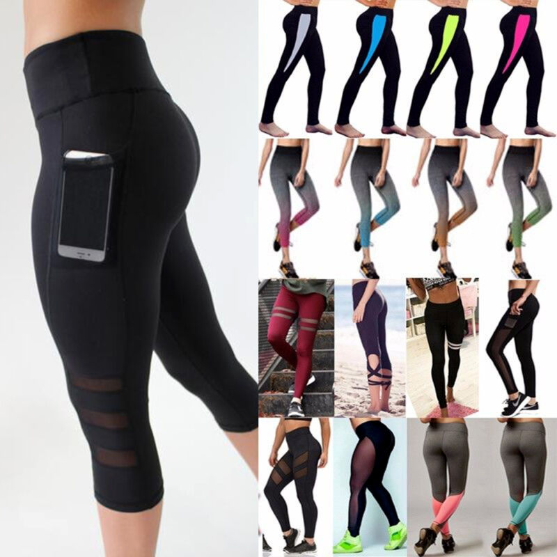 Leggings - USPS Women High Waist Yoga Fitness Leggings Running Gym Sports Pants Trousers US