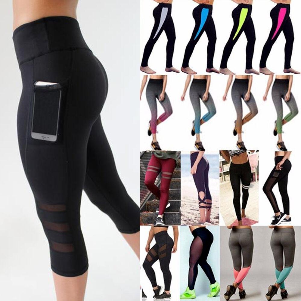 Leggings - USPS Women High Waist Yoga Fitness Leggings Running Gym Sports Pants Trousers US