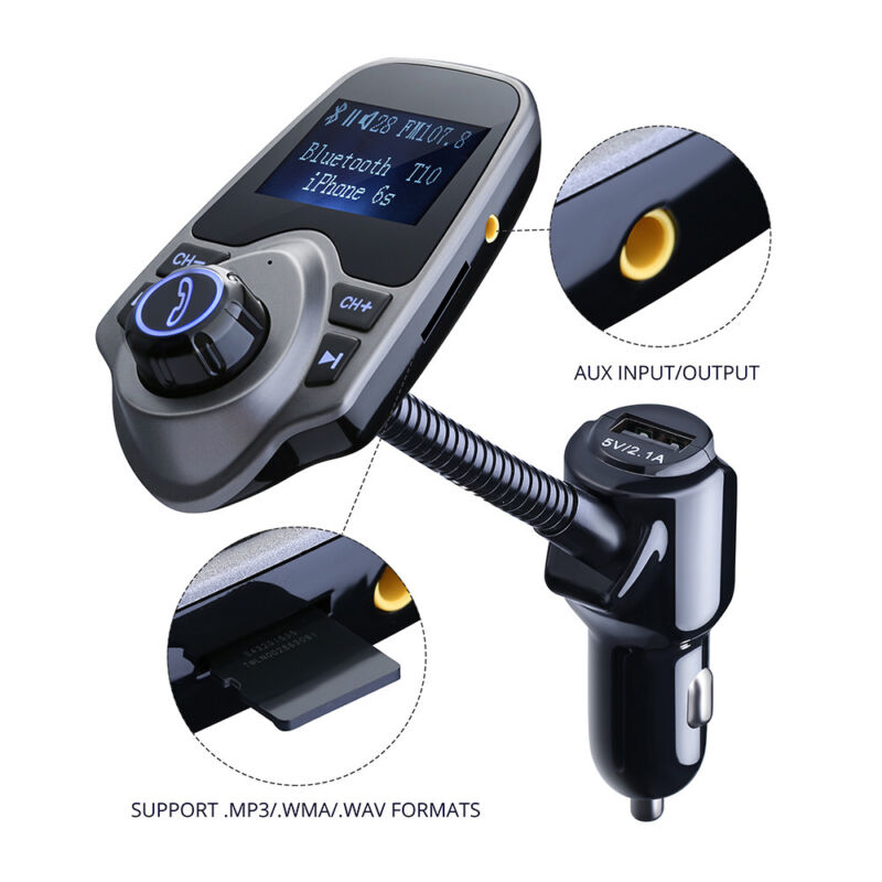 Wireless In-Car Bluetooth 4.0 FM Transmitter Radio Adapter MP3 Player Car Kit US