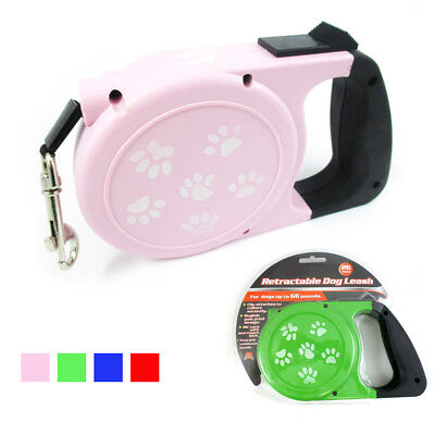 26 Ft Auto Retractable Dog Leash Stop Lock Small Medium Dogs