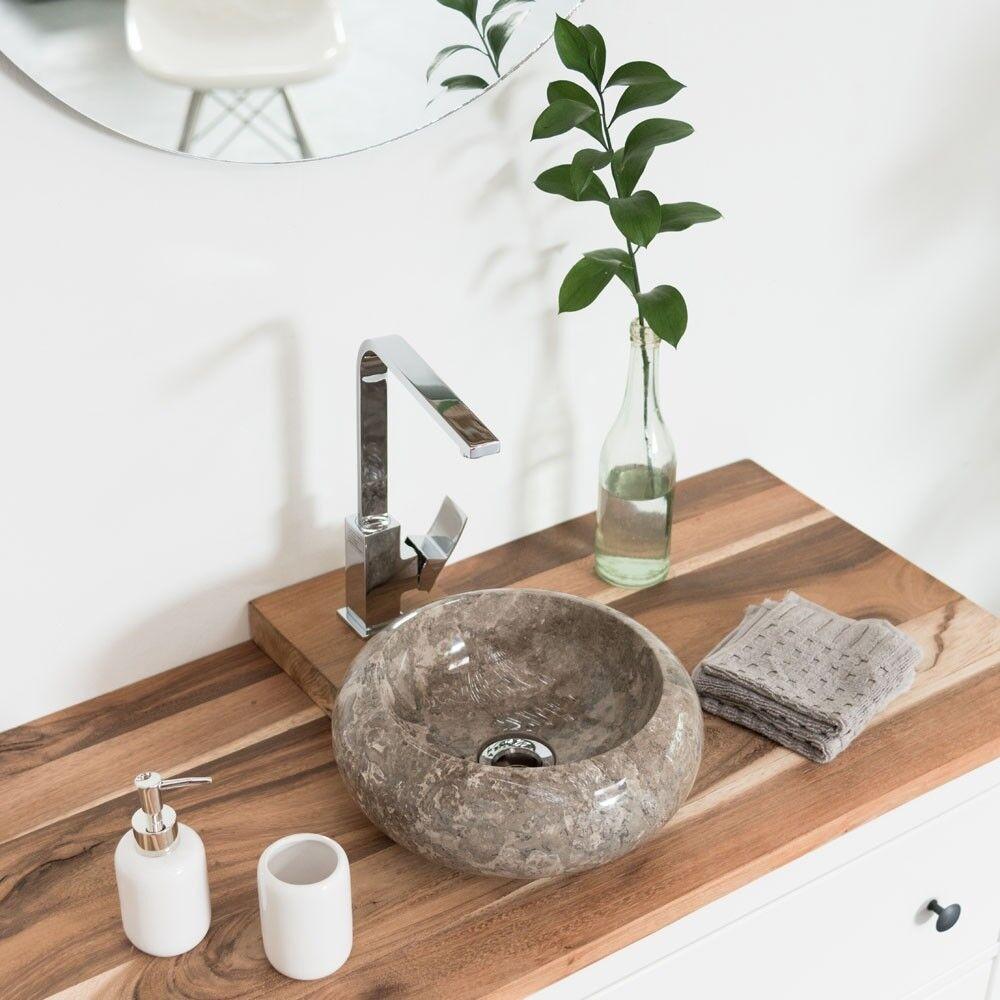 WOHNFREUDEN Marmor Steinwaschbecken   30 cm grau rund Gäste WC