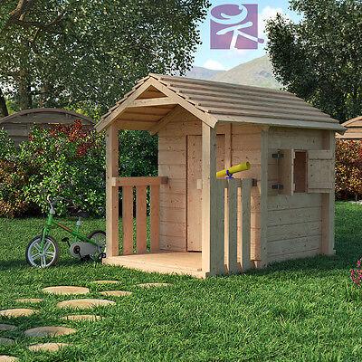 CLIMBIM Spielhaus Kinderspielhaus Gartenhaus Holz Haus mit überdachter Terasse