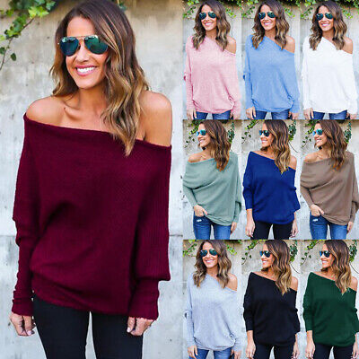 UK Womens Off Shoulder Baggy Sweater Knitted Pullover Jumper Top Plus Size 6-22