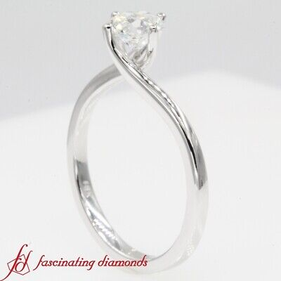 3/4 Carat Round Cut Diamond Solitaire Twisted Engagement Ring In 18K White Gold 2