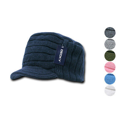Decky Beanies Knitted Flat Top Warm Ribbed Visor Ski Cadet GI Jeep Cap