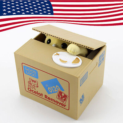 Yellow Itazura Automatic Steal Stealing Bank Money Cat Coin Storage Holder Box