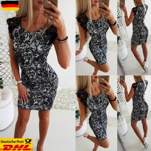 Damen Spitze Minikleid Langarm Partykleid Sexy Bleistiftkleid Clubwear Kurzarm