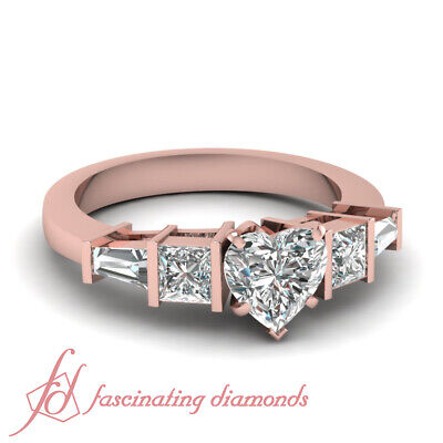 1.50 Ct Princess Cut And Baguette Diamond Ring With Heart Shaped In Center GIA