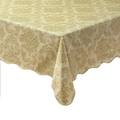 Outdoor Beige Damask Flannel Backed Vinyl Tablecloth Waterproof Oblong (4 sizes)](Flannel Backed Vinyl Tablecloth)