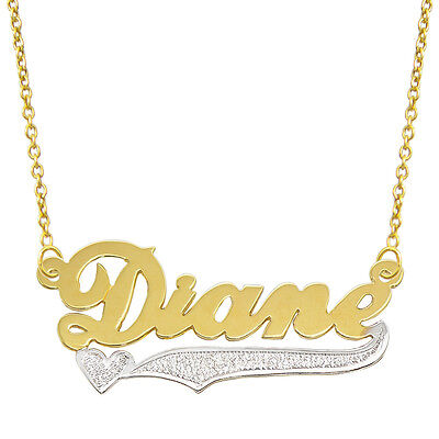14k Two Tone Gold Necklace - 14k Two Tone Gold Personalized Name Plate Necklace - Style 9