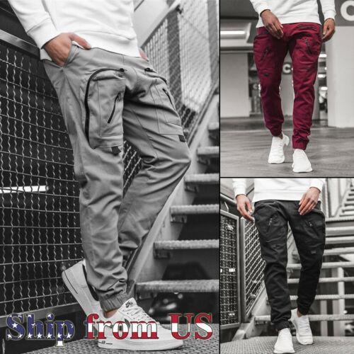 Men Casual Joggers Pants Sweatpants Cargo Combat Loose Active Sports Trousers