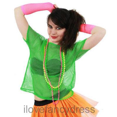 GREEN 80S MESH TOP NEON FISHNET T-SHIRT FANCY DRESS COSTUME PUNK ROCK - Punk Rocker Fancy Dress Kostüm