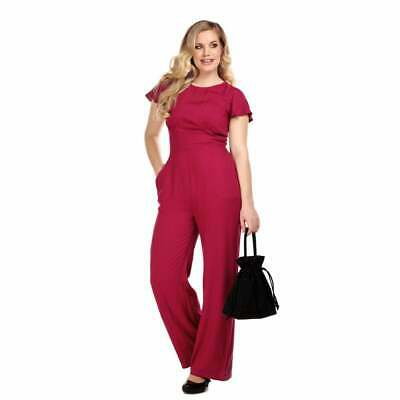 Collectif Vintage Joelyn Plain Jumpsuit Size 6 Wine