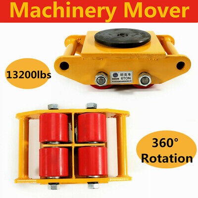 4 Packs 6t Heavy Duty Machine Dolly Skate Machinery Roller Mover Cargo Trolley