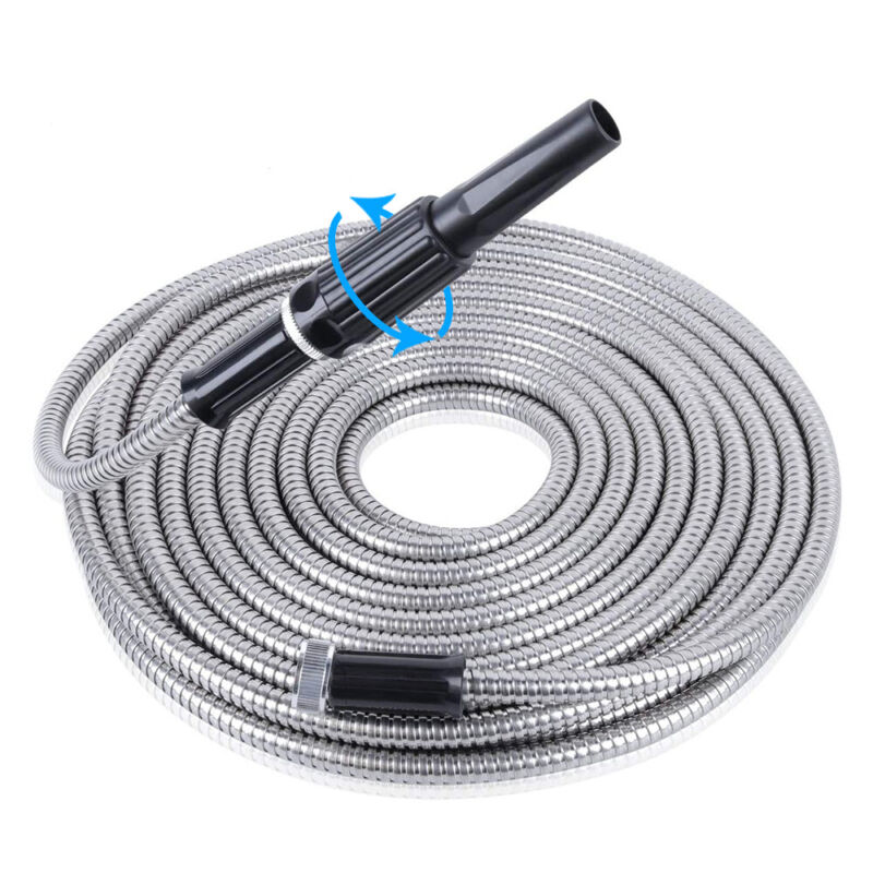25 to 100FT Stainless Steel Garden Water Hose w/ 6 Pattern Adjustable Nozzle