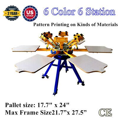 Us 6 Color 6 Station Screen Printing Machine T-shirt Printer Press Carousel Diy