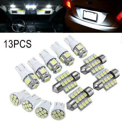 13PCS White LED Light Interior Package 12V T10 Festoon Map Dome License Plate