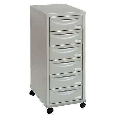 6 DRAWER 'PIERRE HENRY' GREY  FILING CABINET + / - WHEELS A4 / NEW +FREE 24h