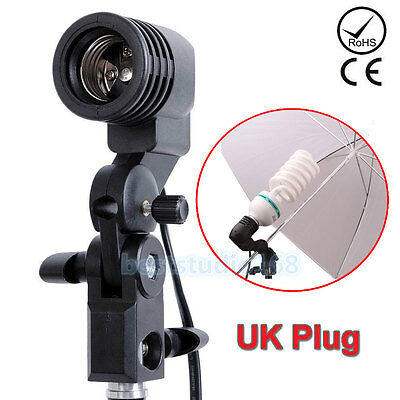 E27 Photo Studio Bulb Holder Lamp light Brolly Flash Umbrella Mount AC Socket UK