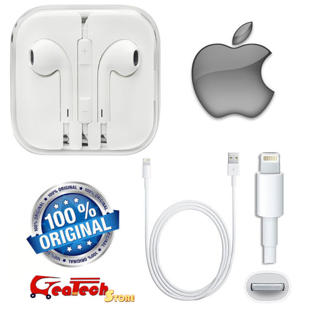 Cuffie EarPods MD827ZM + Kabel Lightning MD818ZM Originale Per Apple iPhone 5 5S
