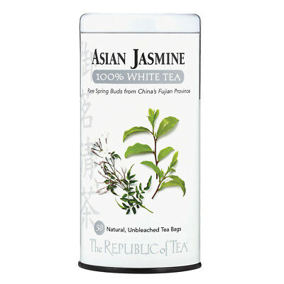 - The Republic Of Tea Asian Jasmine White Tea, 50 Tea Bags, Authentic 100% White T
