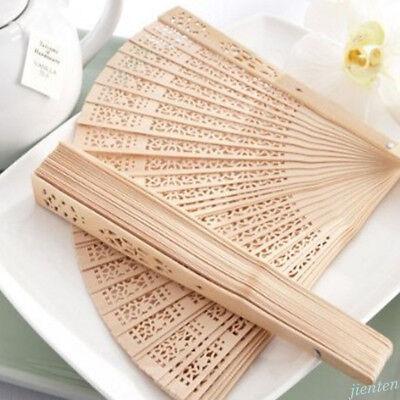 Chinese Vintage Wooden Bamboo Folding Hand Fan Hollow Carved Flower Pattern Fan - Wooden Fans