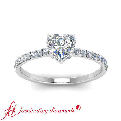 1.25 Carat Heart Shaped Diamond Under Halo Engagement Ring With Round Accents 2