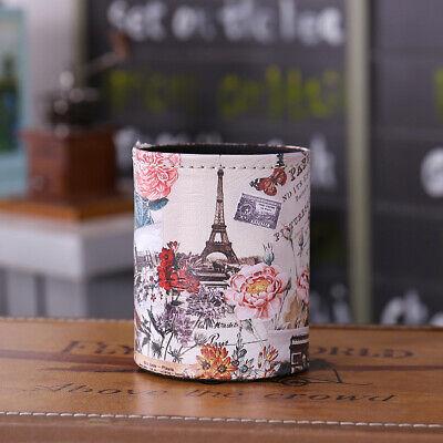 Desk Organizer Paris Eiffel Flower Pu Pen Holder Office Home Container Storage
