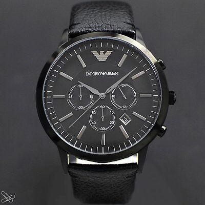 Emporio ARMANI Herrenuhr AR2461 Echt Leder Farbe: Schwarz Chronograph online kaufen