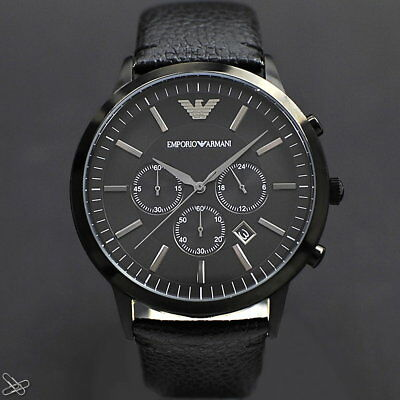 Emporio ARMANI Herrenuhr AR2461 Echt Leder Farbe: Schwarz Chronograph