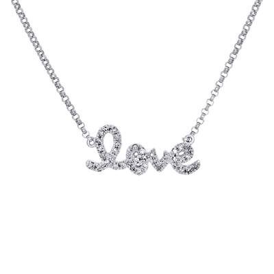 14K White Gold Genuine Diamond LOVE Script Letter Necklace Pendant Charm 0.12 (14k White Gold Diamond Letter)