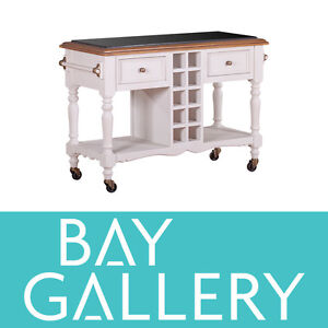 New White Solid Timber Kitchen Island Bench Granite Top Trolley Butchers Block