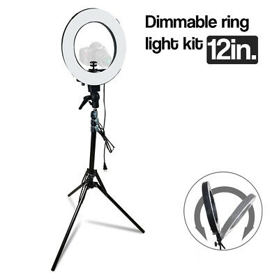 12 Inch Photography Studio Dimmable Selfie Ring Light With Stand   Adapter