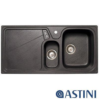 Astini Vitale 1.5 Bowl Granite Black Kitchen Sink & Waste LHD LU15RZUTMISKL